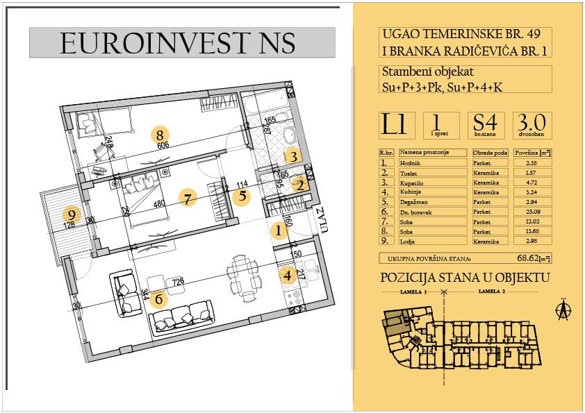 Stan 4 – trosoban 68.62m2 – cena 1.450,00-EURA/m2 sa uračunatim PDV-om