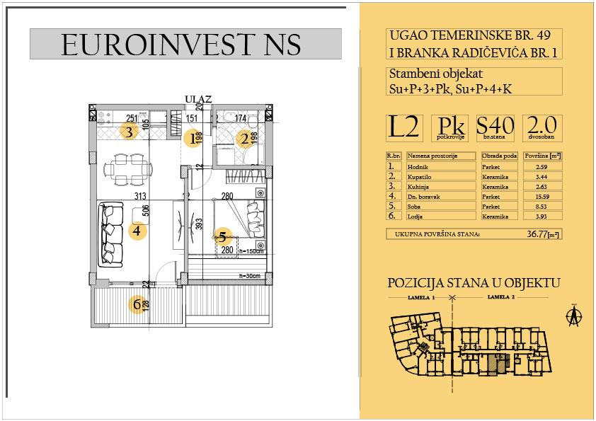 Stan 40 – dvosoban 36.77m2 – cena 1.550,00-EURA/m2 sa uračunatim PDV-om
