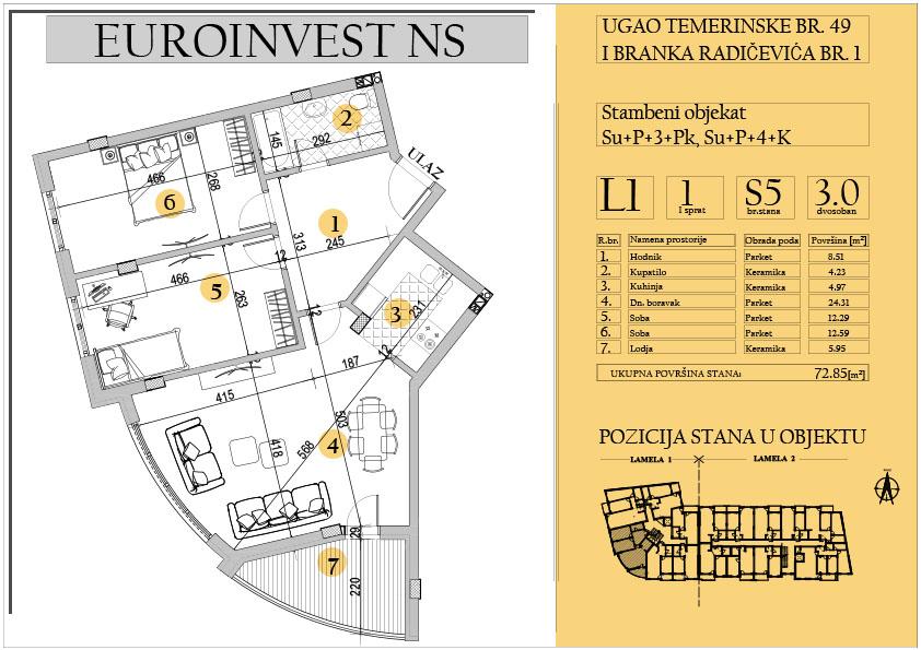 Stan 5 – trosoban 72.85m2 – cena 1.450,00-EURA/m2 sa uračunatim PDV-om