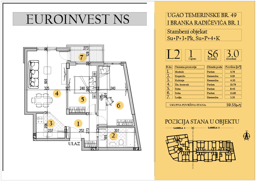 Stan 6 – trosoban 59.55m2
