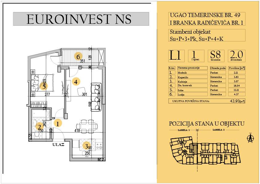 Stan 8 – dvosoban 42.93m2 – cena 1.550,00-EURA/m2 sa uračunatim PDV-om