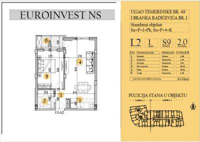 Stan 9 – dvosoban 42.53m2 – cena 1.550,00-EURA/m2 sa uračunatim PDV-om