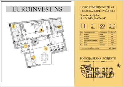 Stan 9 – dvosoban 49.39m2 – cena 1.700,00-EURA/m2 sa uračunatim PDV-om
