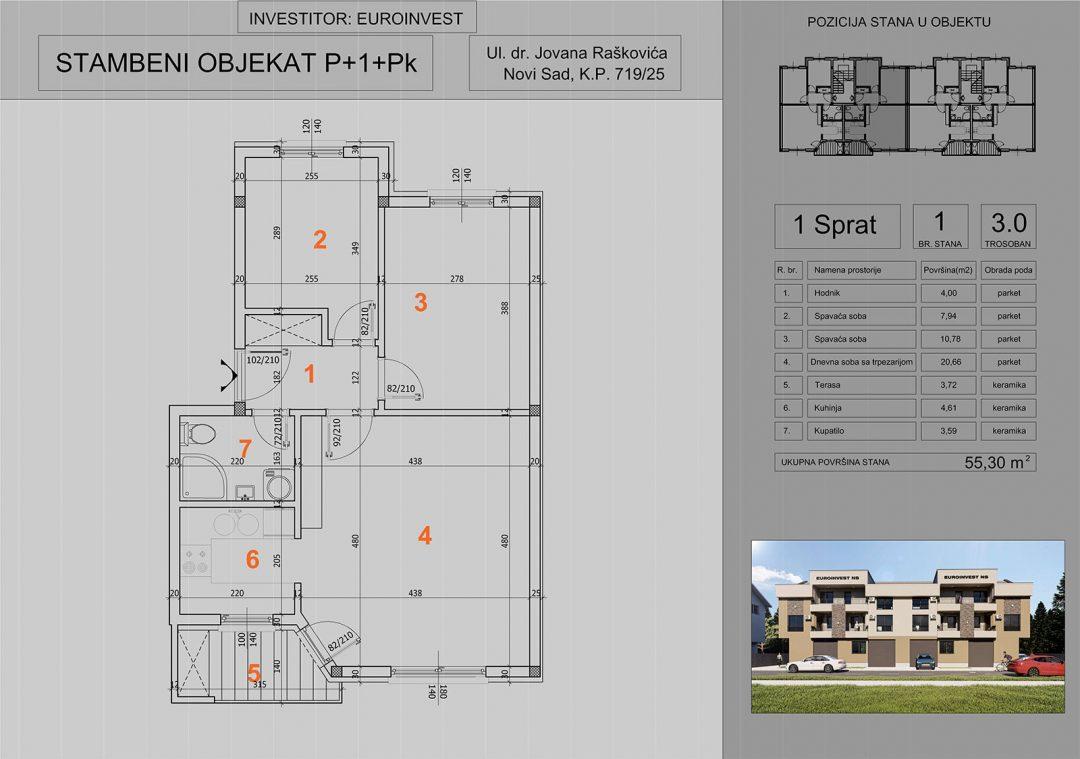 Stan 1 trosoban 55,30m2- cena 1.350,00-EURA/m2 sa uračunatim PDV-om i parking mestom