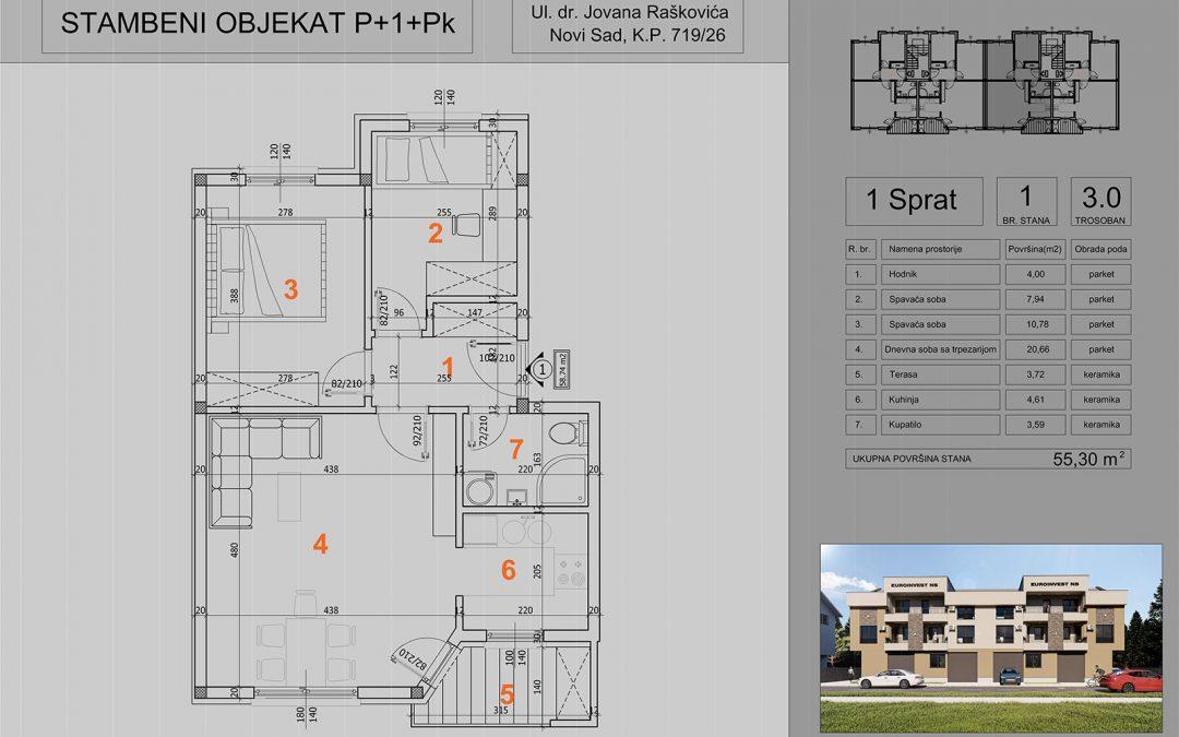 Stan 1 trosoban 55,30m2 – cena 1.400,00-EURA/m2 sa uračunatim PDV-om i parking mestom