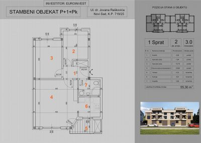 Stan 2 trosoban 55,30m2 – cena 1.450,00-EURA/m2 sa uračunatim PDV-om i parking mestom