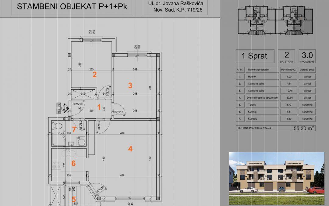 Stan 2 trosoban 55,30m2 – cena 1.400,00-EURA/m2 sa uračunatim PDV-om i parking mestom