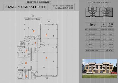 Stan 2 trosoban 55,30m2 – cena 1.350,00-EURA/m2 sa uračunatim PDV-om i parking mestom