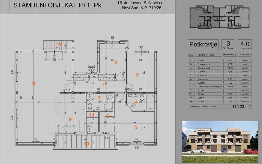 Stan 3 četvorosoban 115,23m2- cena 1.200,00-EURA/m2 sa uračunatim PDV-om i garažom