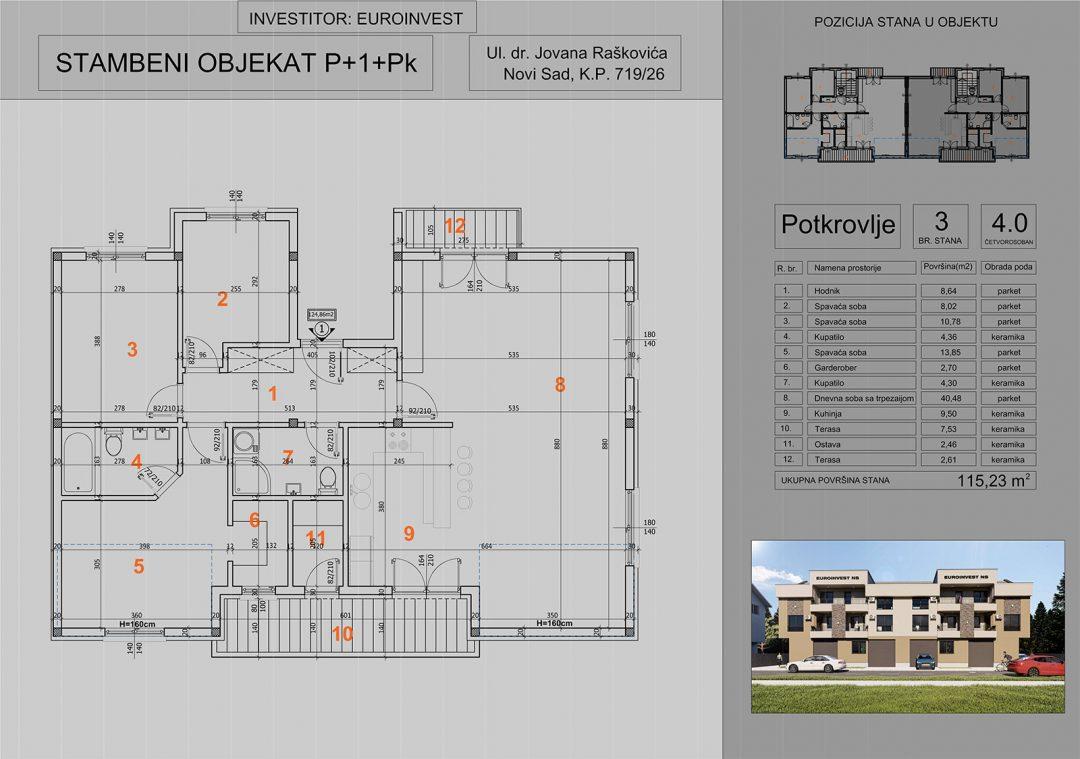 Stan 3 četvorosoban 115,23m2 – cena 1.200,00-EURA/m2 sa uračunatim PDV-om i garažom