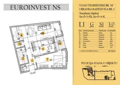 Stan 1- trosoban, 58,27m2 – cena 1.600,00-EURA/m2 sa uračunatim PDV-om