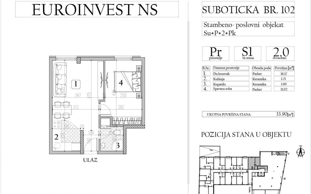 Stan 1 – dvosoban, 33,90m2 – cena 1.750,00-EURA/m2 sa uračunatim PDV-om