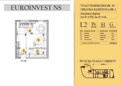 Stan 1 – garsonjera, 30,09m2 – cena 1.750,00-EURA/m2 sa uračunatim PDV-om