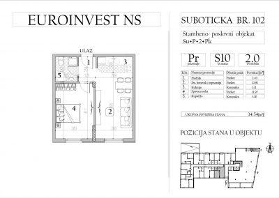 Stan 10 – dvosoban, 34,54m2 – cena 1.750,00-EURA/m2 sa uračunatim PDV-om