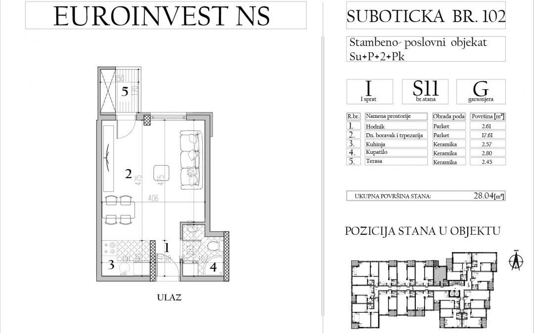 Stan 11 – garsonjera, 28,04m2 – cena 1.800,00-EURA/m2 sa uračunatim PDV-om