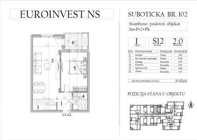 Stan 12 – dvosoban, 43,67m2 – cena 1.700,00-EURA/m2 sa uračunatim PDV-om