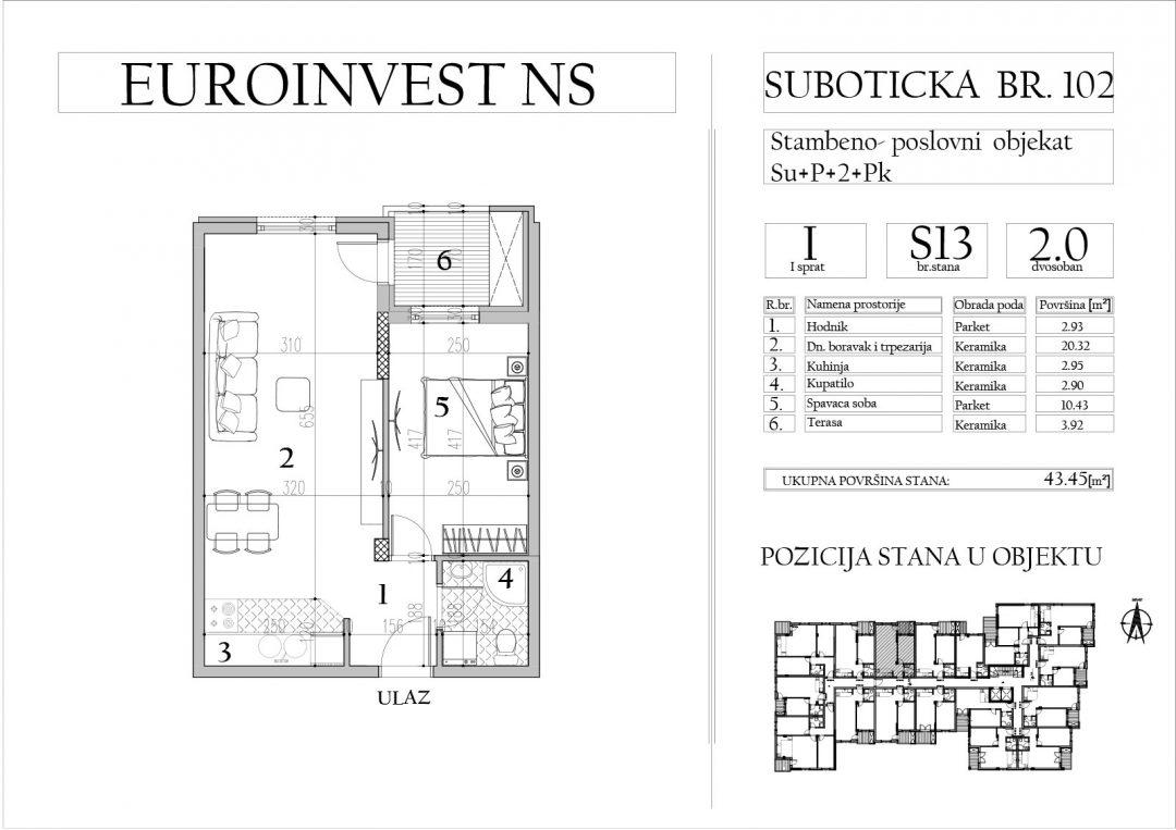 Stan 13 – dvosoban, 43,45m2 – cena 1.700,00-EURA/m2 sa uračunatim PDV-om