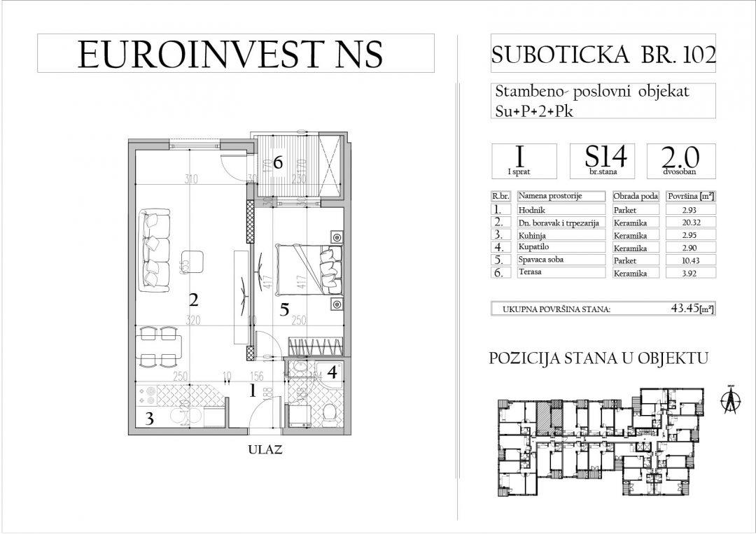 Stan 14 – dvosoban, 43,45m2 – cena 1.700,00-EURA/m2 sa uračunatim PDV-om