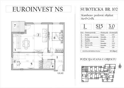 Stan 15 – trosoban, 63,16m2 – cena 1.650,00-EURA/m2 sa uračunatim PDV-om