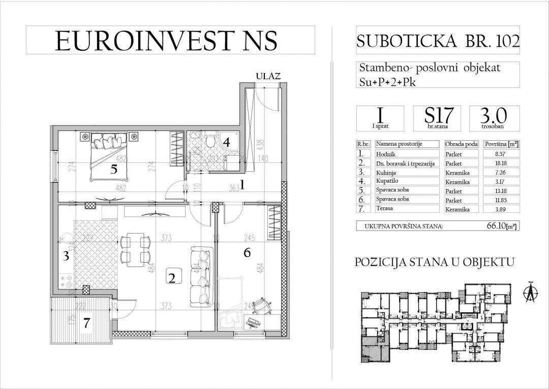 Stan 17- trosoban, 66,10m2 – cena 1.600,00-EURA/m2 sa uračunatim PDV-om