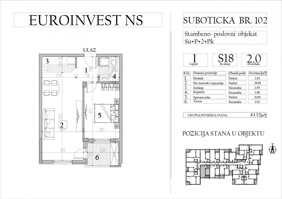 Stan 18 – dvosoban, 43,52m2 – cena 1.700,00-EURA/m2 sa uračunatim PDV-om
