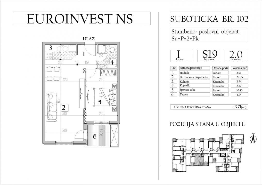 Stan 19 – dvosoban, 43,71m2 – cena 1.700,00-EURA/m2 sa uračunatim PDV-om