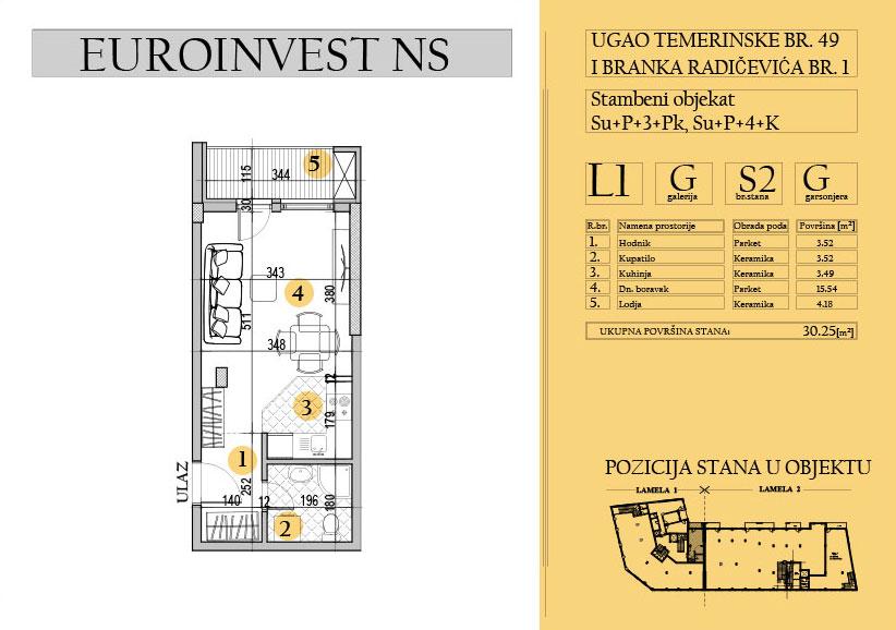 Stan 2 – 30,25m2 – cena 1.800,00-EURA/m2 sa uračunatim PDV-om