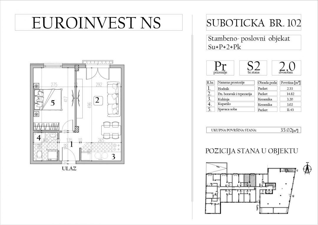 Stan 2 – dvosoban, 35,02m2 – cena 1.750,00-EURA/m2 sa uračunatim PDV-om