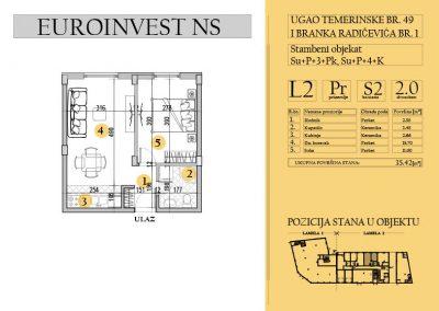 Stan 2 – dvosoban, 35,42m2– cena 1.750,00-EURA/m2 sa uračunatim PDV-om