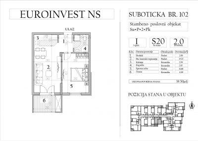 Stan 20 – dvosoban, 39,50m2 – cena 1.750,00-EURA/m2 sa uračunatim PDV-om