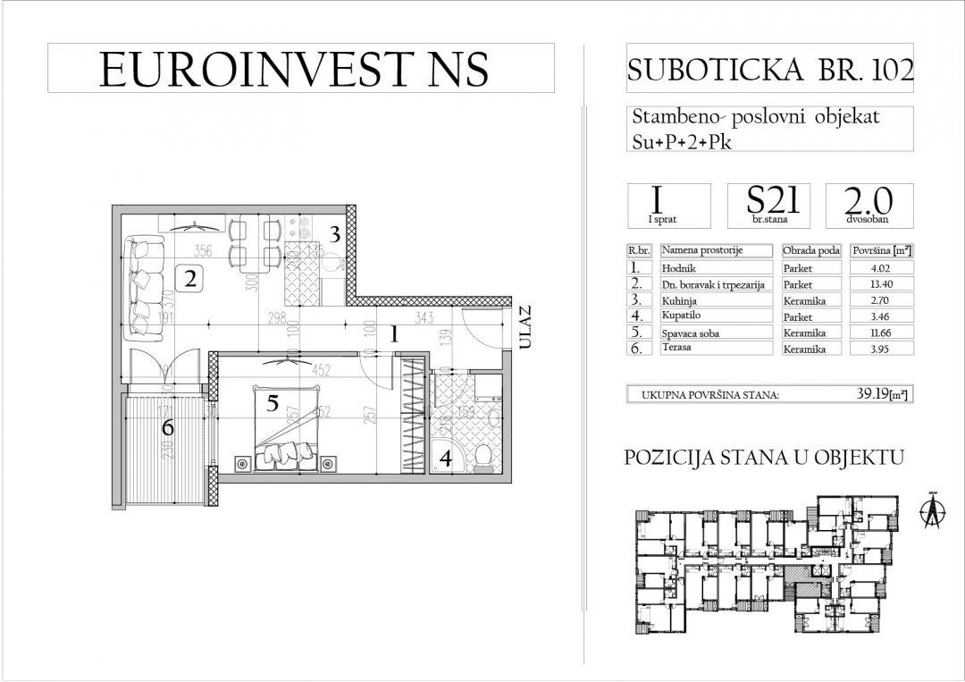 Stan 21 – dvosoban, 39,19m2 – cena 1.700,00-EURA/m2 sa uračunatim PDV-om