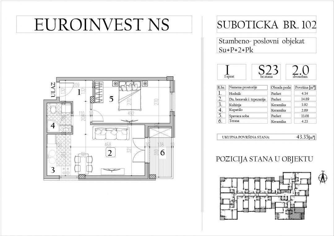 Stan 23 – dvosoban, 43,35m2 – cena 1.700,00-EURA/m2 sa uračunatim PDV-om