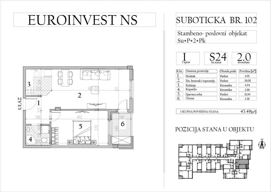 Stan 24 – dvosoban, 45,49m2 – cena 1.700,00-EURA/m2 sa uračunatim PDV-om