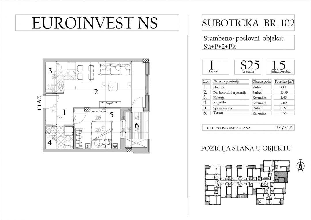 Stan 25 – jednoiposoban, 37,77m2 – cena 1.750,00-EURA/m2 sa uračunatim PDV-om