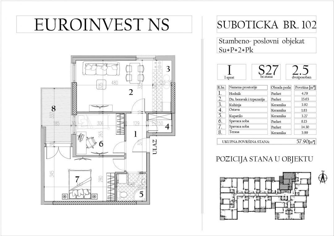 Stan 27 -dvoiposoban, 57,90m2 – cena 1.650,00-EURA/m2 sa uračunatim PDV-om