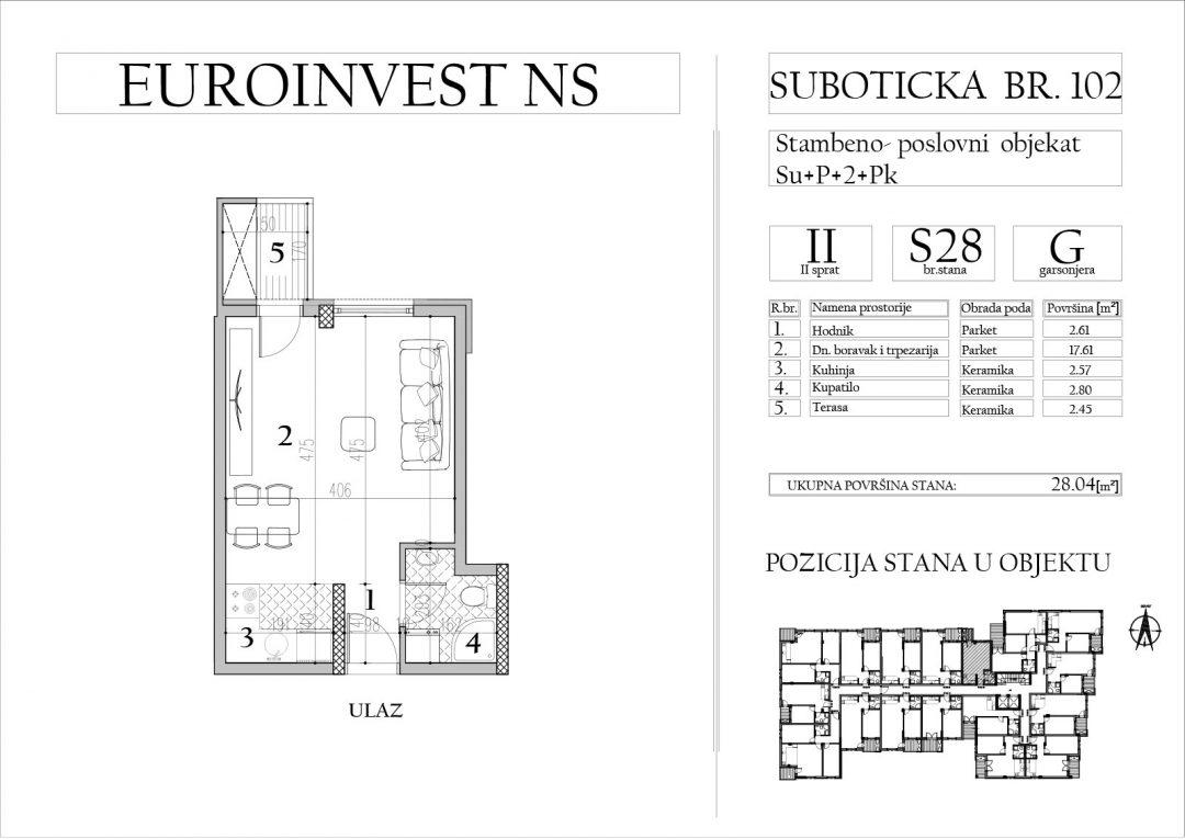 Stan 28 – garsonjera, 28,04m2 – cena 1.800,00-EURA/m2 sa uračunatim PDV-om