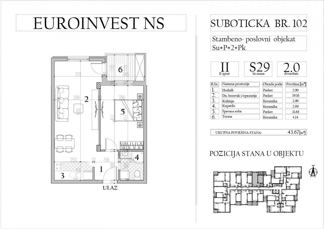 Stan 29 – dvosoban, 43,67m2 – cena 1.750,00-EURA/m2 sa uračunatim PDV-om