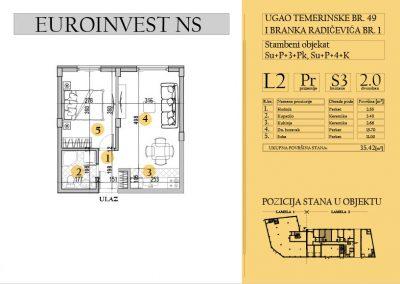Stan 3 – dvosoban, 35,42m2 – cena 1.750,00-EURA/m2 sa uračunatim PDV-om