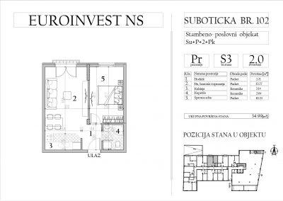 Stan 3 – dvosoban, 34,99m2 – cena 1.750,00-EURA/m2 sa uračunatim PDV-om