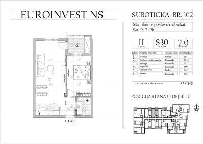 Stan 30 – dvosoban, 43,45m2 – cena 1.750,00-EURA/m2 sa uračunatim PDV-om
