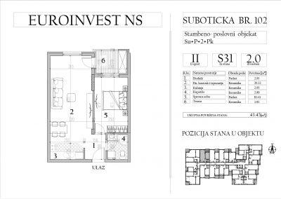 Stan 31 – dvosoban, 43,45m2 – cena 1.750,00-EURA/m2 sa uračunatim PDV-om