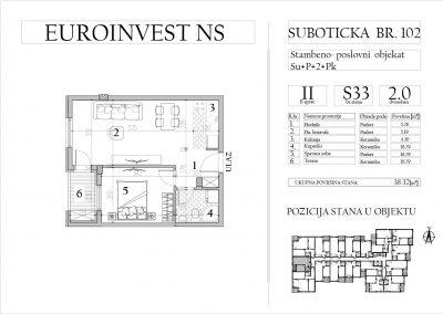Stan 33 – dvosoban, 38,32m2 – cena 1.750,00-EURA/m2 sa uračunatim PDV-om