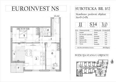 Stan 34 – trosoban, 66,10m2 – cena 1.600,00-EURA/m2 sa uračunatim PDV-om