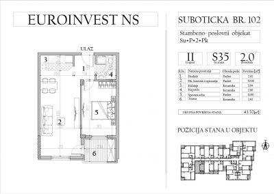 Stan 35 – dvosoban, 43,52m2 – cena 1.700,00-EURA/m2 sa uračunatim PDV-om