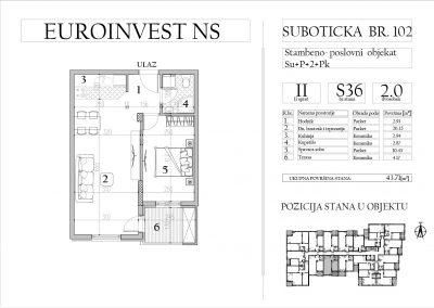 Stan 36 – dvosoban, 43,71m2 – cena 1.750,00-EURA/m2 sa uračunatim PDV-om