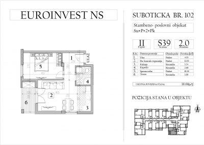 Stan 39 – dvosoban, 38,66m2 – cena 1.750,00-EURA/m2 sa uračunatim PDV-om