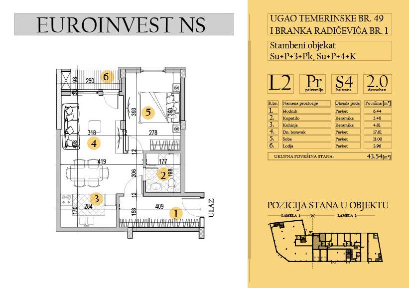 Stan 4 – dvosoban, 43,54m2 – cena 1.700,00-EURA/m2 sa uračunatim PDV-om