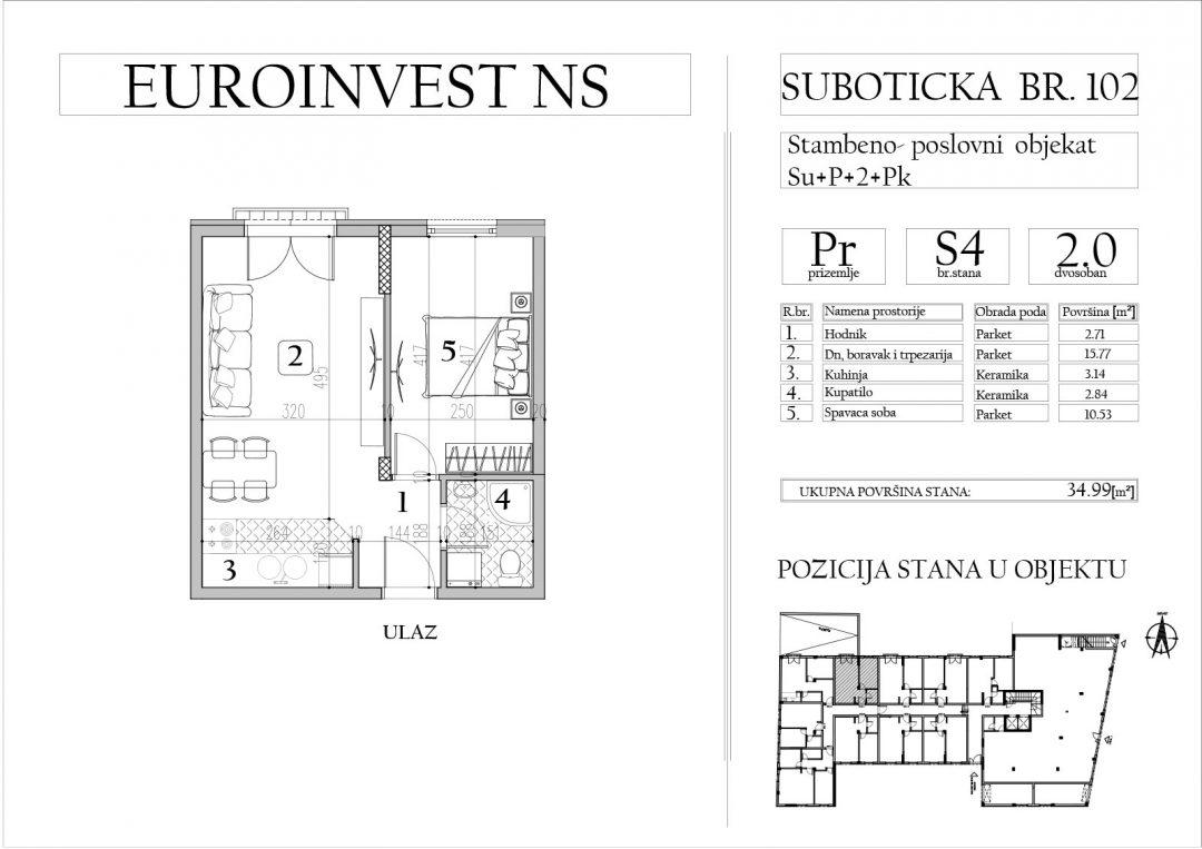 Stan 4 – dvosoban, 34,99m2 – cena 1.750,00-EURA/m2 sa uračunatim PDV-om