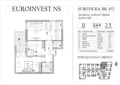 Stan 44 – dvoiposoban, 57,90m2 – cena 1.650,00-EURA/m2 sa uračunatim PDV-om