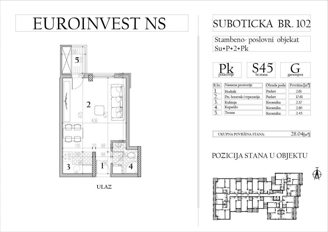 Stan 45 – garsonjera, 28,04m2 – cena 1.800,00-EURA/m2 sa uračunatim PDV-om